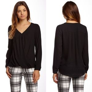 Ro&De (Anthropologie) Black Long Sleeve Wrap Top